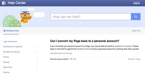 Convert a Page to a Personal Account