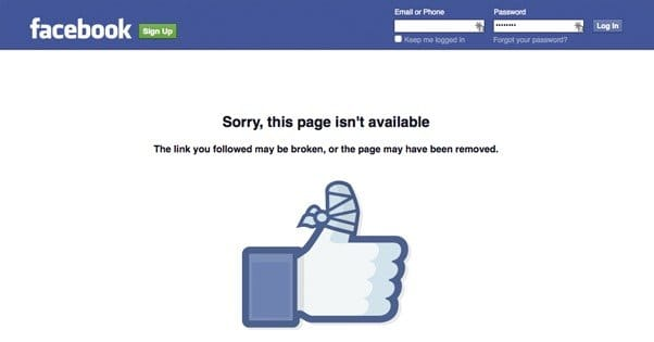Facebook Page Removed