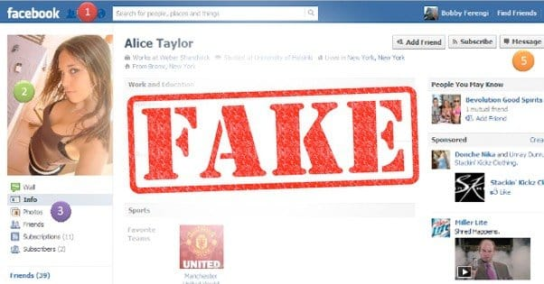 Fake profile example