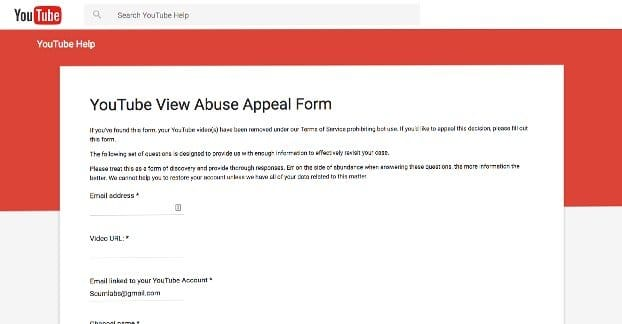 YouTube Abuse Form