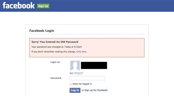 Password Changed Facebook