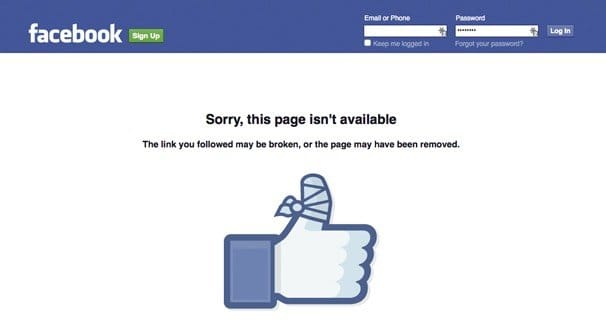 Banned Facebook Page Screen