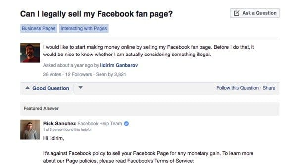 Facebooks Stance on Selling Pages