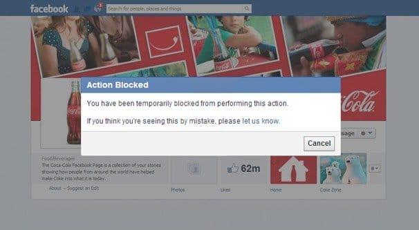 Action Blocked Facebook