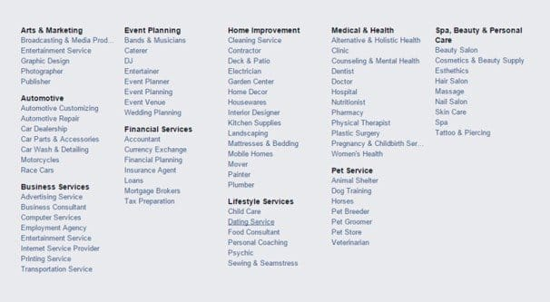 Complete List Of Facebook Page Categories And Subcategories